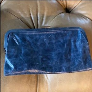 Latico marbled leather clutch silver clasp blue